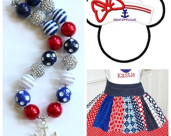 Sailor Minnie Disney outfit Girls Disney Cruise Anchor Minnie Mouse skirt set with matching necklace shirt size 2t 3t 4t 5 6 8 10 12 girl