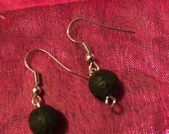 Black lava bead earrings
