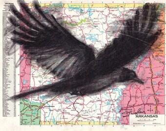 Custom Bird Drawing Crow #2 on Map