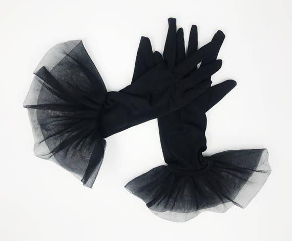 Vintage Black Goth Glam Mesh Netted Ruffle Gloves - Black Shirred 3/4 Stretchy Fitted Party Gloves With Trim - Gothic Girly Vtg Long Gloves