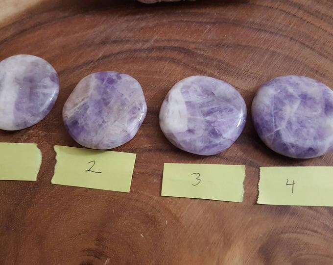 Amethyst Palm Stone, Chakra Stone, Worry Stone, Fidget Stone~1 large Reiki infused polished flat, approx 1.9 inches