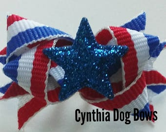 """Mini Boutique Dog Bow- July 4th/Independence Day """"BLUE STAR"""""""
