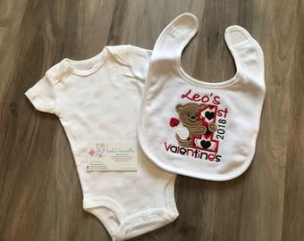 Baby's First Valentine's bib or shirt, personalized