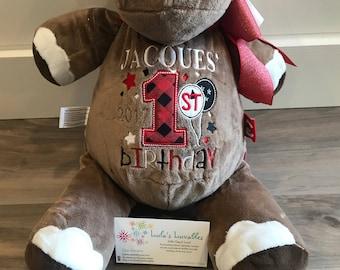 First birthday personalized Stuffed Animal, girls or boys, custom colours!