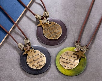 Vintage quote necklace, Wooden Bead, vintage, Shakespeare's Sonnets, Sonnet 18, Hippie jewelry, Boho, bronze, leather, bronze star, fair, UK