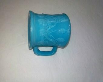 Glass tiny cup, aqua blue mug, slag glass