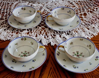 LIMOGES - Charles AHRENFELDT -  BLEUETS Fine Bone China- Set of 4- Cups and Saucers  - Made in France