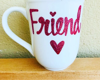 Glitter extra Best Friend coffee mug- stocking stuffer hand painted glittery mug- gifts for best friend- shower gift- birthday gift