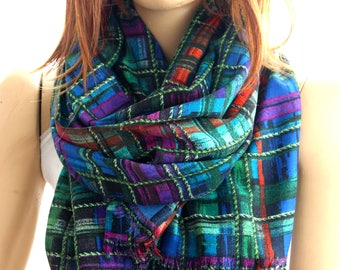 green blue purple long scarf, scarf, wrap scarf - scarves -  print scarves, shawls, print scarf, women's scarves, shawl, women's shawl
