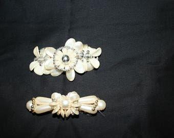 Pair of Vintage Pearl Bead Barette Hair Clips