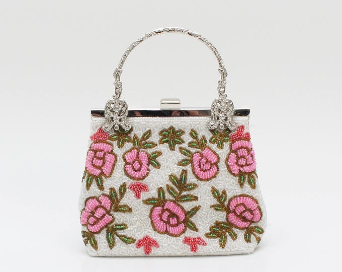 Vintage 1960s Pink and White Floral Beaded Handbag