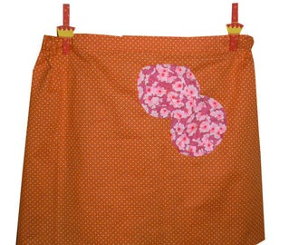 Orange cotton skirt with white dots