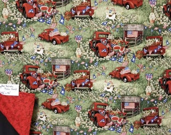 Patriotic Red Truck fabric tablecloth for Norma.