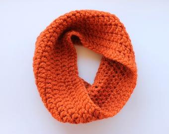 orange infinity scarf, orange cowl scarf, orange crochet scarf, orange wool scarf, orange knit scarf, crochet scarf, knitwear