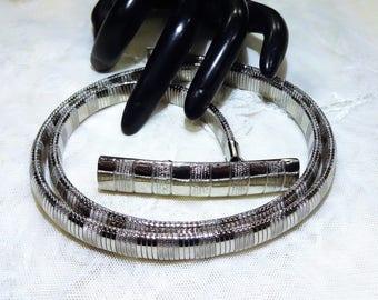 Vintage Accessocraft N.Y.C. Textured Silver Tone Snake Belt