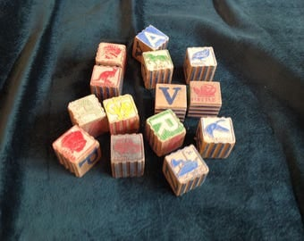Vintage childrens wood blocks