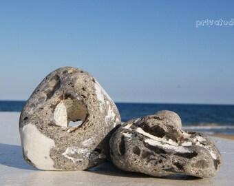 Odin Stone Holder Castaway Decoration! Sea Stone, Beach Stone, Natural Stone, Holey Stone Amulet, Natural Home Decor