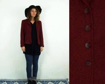 ON SALE 80's vintage women's claret/bordo cardigan/blazer