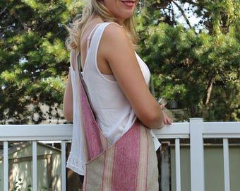 Boho Purse - Striped Summer Bag - Boho Sling Bag - Striped Beach Bag - Pool Bag - Hippie Purse - Reversible Sling Bag - Crossover Bag