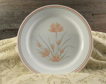 Vintage Corelle By Corning Peach Floral Dinner Plate Colelle Plate Peach Dinner Plate Picnic Plate
