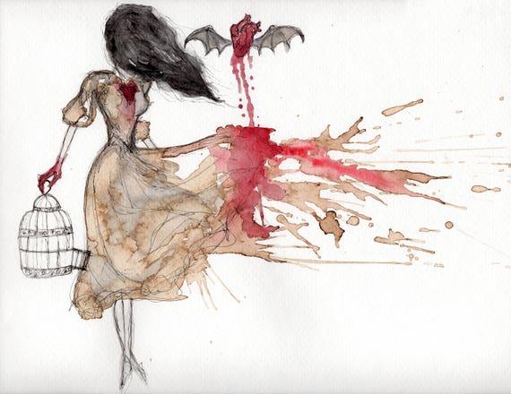Dark Art Prints Gothic Home Decor Bloody Valentine Creepy