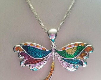 Silver Enamel Painted Dragonfly Necklace