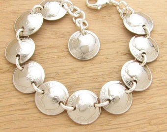 For 30th: 1988 US Dime Bracelet 30th Birthday or 30th Anniversary Gift Coin Jewelry