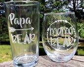 Mama Bear Stemless Wine Glass & Papa Bear Beer Glass