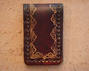 Tooled Brown Leather Magnetic Money Clip - Wave Border