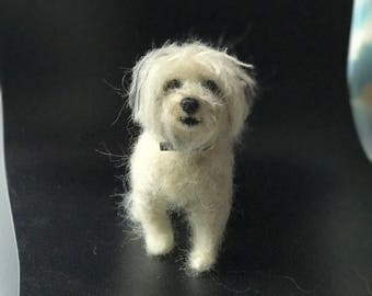 Needle Felted Miniature Custom Dog Portrait