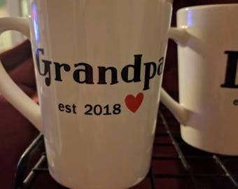 Grandpa Coffee Cup, Birth Announcement, Baby Announcement, Grandpa Gift