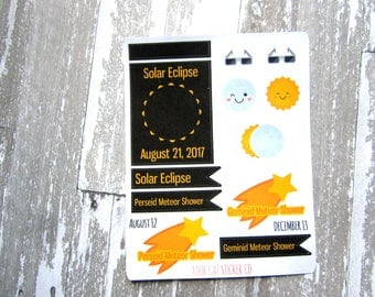 Solar Eclipse Planner Stickers, Astronomy Stickers, Meteor Shower, Matte Removable