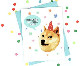 Moving SALE Funny Birthday Card - Doge Card - Much Amaze - Such Birthday - Wow - Doge Meme Greeting Card