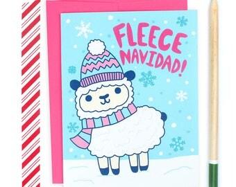Feliz Navidad, Christmas Puns, Sheep Card, Cute Animals, Boxed Cards, Funny Holiday Card, Winter Snow, Card For Her, Bulk Xmas Cards, Fleece