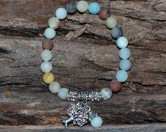 FREE SHIPPING WORLDWIDE-Amazonite Bracelet - Amazonite Stretch Bracelet -Tree of Life- Unisex Amazonite Stretch Bracelet - Reiki Jewellery