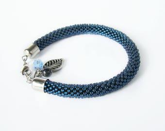 Thin blue line bracelet Seed glass bead crochet bracelet Navy blue naval bracelet Crochet bead rope bracelet Anklet Beadwork jewelry Bangle