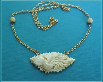 Vintage Carved Bone Chinese Phoenix Pendant Necklace  - 14K Gold Filled Chain with Bone Beads