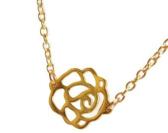 Gold Rosette Necklace. Minimalist Necklace. Layering Necklace