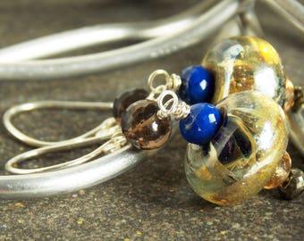 Brown and Blue Lampwork Artisan Dangle Earrings // Birthstone Earrings // Luxe Glass Jewelry