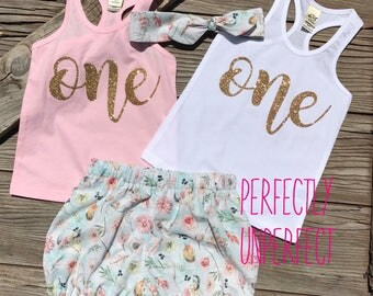 First birthday girl set 1st birthday girl outfit - gold glitter flower skull bloomer short tank top set, pink and gold, country, cow, chic