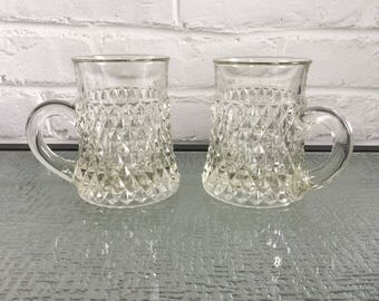 Indiana Glass Diamond Point Pattern Mugs