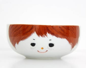 Vintage Bowl // Little Boy Face Bowl // Ceramic Cafe au Lait Bowl