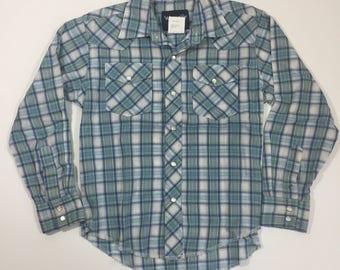 Boys Vintage Wrangler Western Shirt - Medium 7 - Vintage Pearl Snap - Boys Western Shirt - Plaid Shirt - Long Sleeve Shirt - Boy's Wrangler
