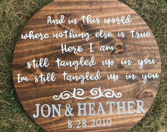 Anniversary gift- first dance lyrics wood sign