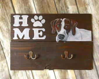 Dog leash holder- custom- your dogs photo!