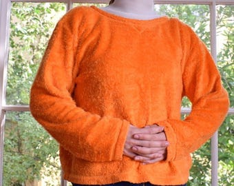 90s Electric Persimmon Fuzzy Sweater