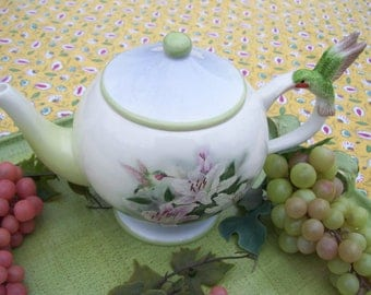 Designer Lena Liu White Teapot Hummingbird and Tiger Lilies Teapot Teleflora Tea Pot Soft Pastel Colors
