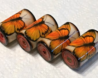 Paper Beads - Burnished Monarch Butterflies