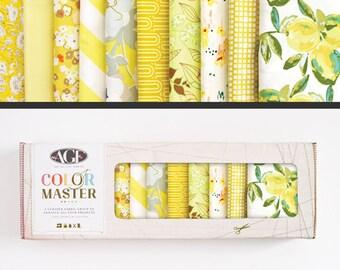 Art Gallery Fabrics, Color Master Collectors Box, Lemon Green, FREE SHIPPING, yellow fabric bundle, fabric, modern blender, quilting bundle