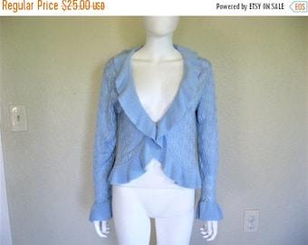 25% off SALE Light Blue Knit Ruffle long sleeve Sweater Top - Large